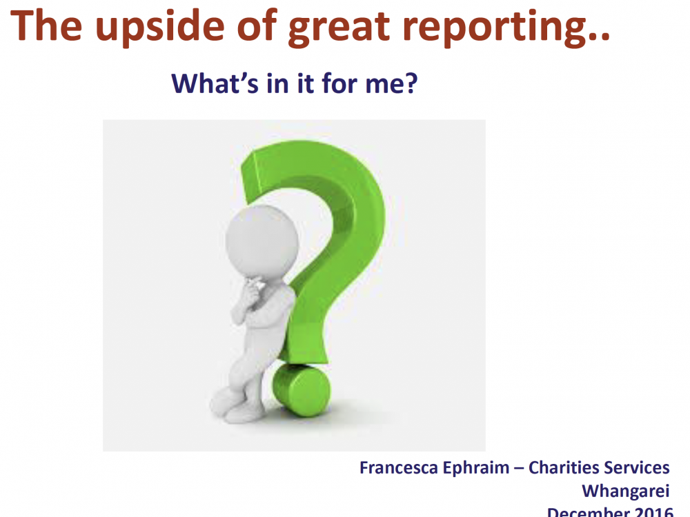 Workshop - Reporting Standards by Francesca Ephraim (Charities Services) Image